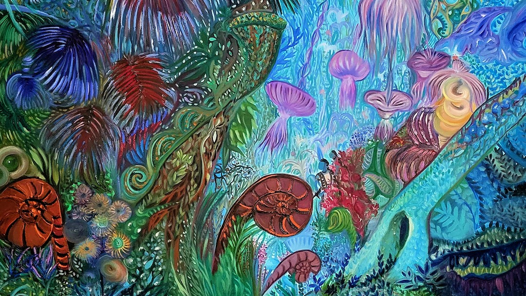 The rainforest has evolved, and in doing so, has converged with the ocean reef. Bioluminescent species cast a surreal underwater glow. Fiddleheads curl into themselves like nautiloids. Fleshy palm fronds fan outward from bulbous stems like sea anemones. Fungal spirits bob gently upon the breeze, their shaggy mycelia dangling like tentacles from bowl-shaped caps. The arc of a lichen-covered branch scaffolds the ecosystem like coral.