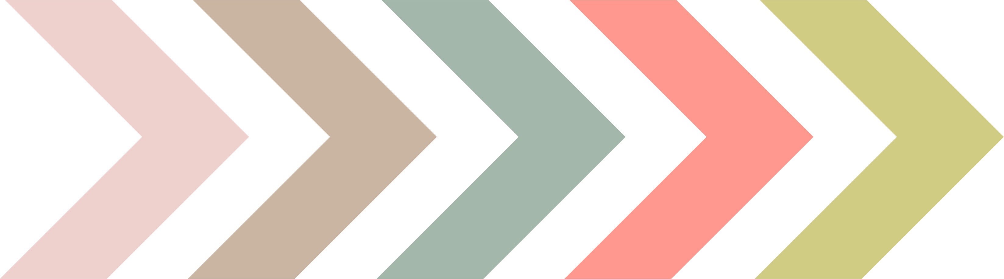 Five different coloured arrows pointing east. Each arrow represents the five Northbound exhibitions and the colours were pulled from their respective artwork. In order or exhibition and from left to right the colours are: pale pink, light brown, dusty green, bright coral, and muted yellow.