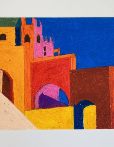 Skewed walls and arched portals signpost a crooked path amid loud colours, amplified by the glare of a cloudless sky.