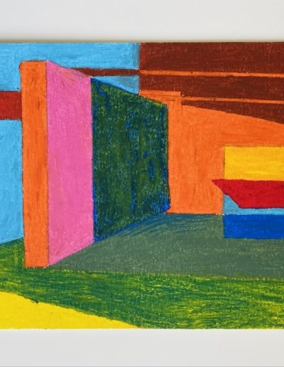 Building block walls— planes of colour stacked end on end. One slab upturned, protruding, interrupting space and light, painting the ground with shadow.