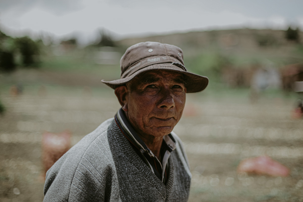 In this portrait, an indigenous, round faced onion picker is dressed in a v-neck sweater with a button down underneath, and a bucket hat that pushes down, splaying his ears. The onion field, a haze behind him, with no other workers in sight, reflects the solitary nature of this work. He looks gently, but intently at the camera.