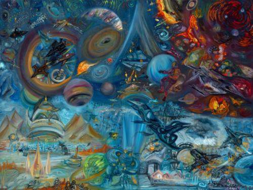 """""""Offworlding"""", 2021, Oil on Canvas, 30 by 40 inches, Ashley Beerdat"""