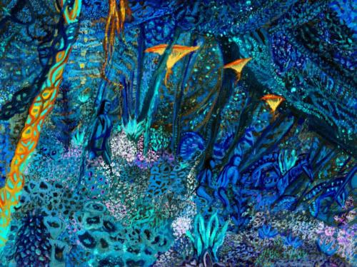 """""""Spirits of the night"""", Gouache on paper, 9 by 11 inches, Ashley Beerdat"""