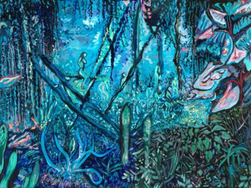 """""""Bioluminescence"""", 2020, Gouache on paper, 9 by 11 inches, Ashley Beerdat"""