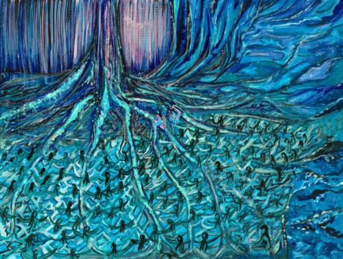 """""""Ewywa - The Tree of Life"""", 2020, Gouache on Canvas, 9 by 11 inches, Ashley Beerdat"""