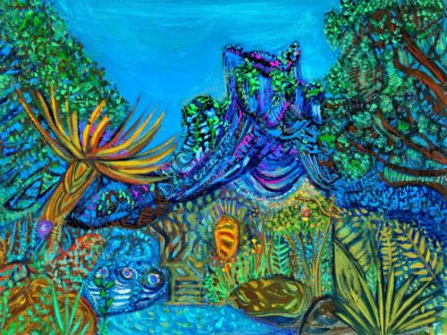 """""""Blue World"""", 2020, Gouache on Canvas paper, 9 by 12 inches, Ashley Beerdat"""