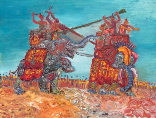 """""""The Epirota Phalanx"""", 2019, Oil on Canvas, 9 by 12 inches, Ashley Beerdat"""